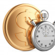 Time is money - 3d illustration of stopwatch and gold coins — Stock Photo #47010523