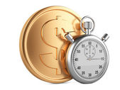 Time is money - 3d illustration of stopwatch and gold coins — ストック写真