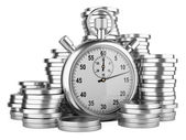 Time is money - 3d illustration of stopwatch and silver coins — Foto Stock
