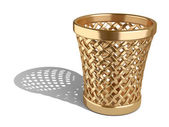 Gold wastepaper basket empty  — Stock Photo
