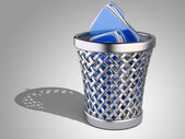 Wastepaper basket with folders  — Stock Photo