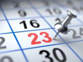 Calendar and pushpin. Mark on the calendar at 23 — Stock Photo