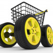 3d shopping cart with big car wheel — Stock Photo #6682150