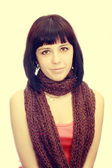 Girl with scarf on neck — Stock Photo