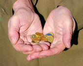 Hands of a beggar — Stock Photo