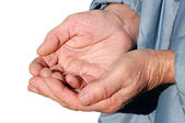 Hands of a beggar — Stock Photo