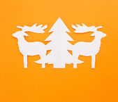 Template Christmas cards. New Year's deers on a red background. — ストック写真