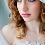 Portrait of happy bride in beautiful dress — Stock Photo #13363455