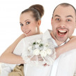 Beautiful smiling wedding couple — Stock Photo #13363458
