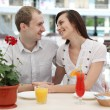 Young couple in cafe — Stock Photo #13363520