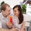 Stock Photo: Young couple in cafe