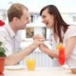 young couple in cafe — Stock Photo