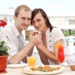 young couple in cafe — Stock Photo #13363542