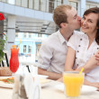 Young couple in cafe — Stock Photo #13363560