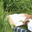Man reading bible in summer — Stock Photo