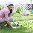 Stock Photo: Young woman with hoe working in the garden bed