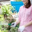 Young woman watering the garden bed — Stock Photo