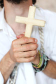 Man with the cross — Stock Photo
