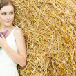 Woman on a hay in a field outside the city — Stock Photo #13733869