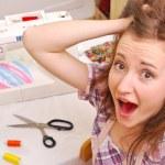 Woman seamstress work on the sewing-machine — Stock Photo #13734044