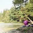 Yoga outdoors — Stock Video