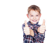 Boy with the thumbs up against a white background — Stock Photo