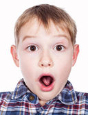 Portrait of a young boy's silly face — Stock Photo