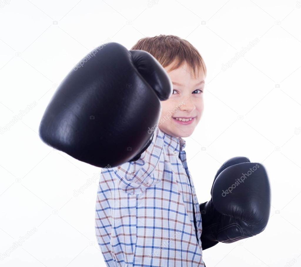 Little boy boxer on the white background — Stock Photo #15399017