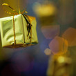 Christmas decoration against lights blurred background — Stock Photo