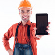 A builder with tablet — Stock Photo