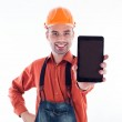 A builder with a tablet — Stock Photo