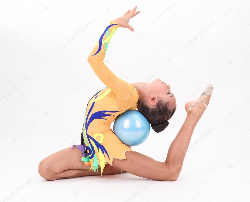 Beautiful flexible girl gymnast  over white background — Stock Photo #16361013