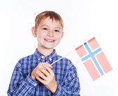 A little boy with Norwegian flag on the white background — Stock Photo