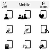 Mobile icon set — Stock Vector