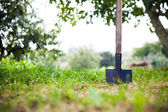 Shovel in the heap of ground — Stock Photo