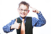 Portrait of happy boy showing thumbs up — Stock Photo