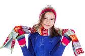 Beautiful little girl in cap and scarf — 图库照片