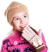 Little girl with hands close to face — Stock Photo