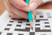 Crossword puzzle close-up — Stock Photo