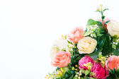 Beautiful bouquet of bright flowers on white — Stock Photo