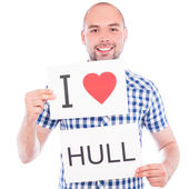 Man with city sign Hull. — Stock Photo