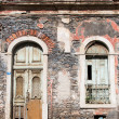 Window and door of the old abandoned house — Stock Photo