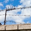 Old rusty barbed wire on the fence against a bright blue sky — Stock Photo #12640713