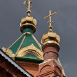 Stock Photo: Cupolas of Russiorthodox church against dark sky