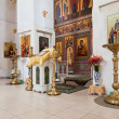Stock Photo: Interior of russiorthodox church in Novgorod region, Russia.