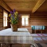 Old wooden interior. Russian obsolete rural interior — Stock Photo #12966145