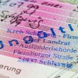Schengen visa in passport. Fragment - Stock Photo