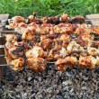 Shish kebab: slices of meat with sauce preparing on fire — Stock Photo