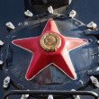 Red star on the old steam train - Stock Photo