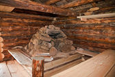 Hearth at the ancient traditional russian wooden house — Stock Photo